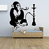 Adesivo murale Shisha Narghilè Fumo Finestra Negozio Arredamento Scimmia con Narghilè Relax Arabo Decalcomanie Adesivo da Parete scimmia72X80CM