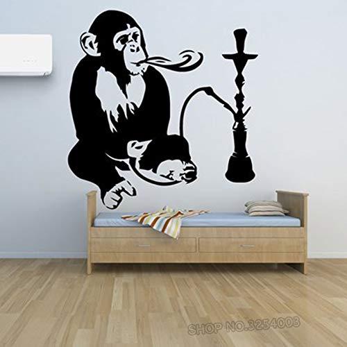 JUDING Vinilo Decorativo cachimba Humo escaparate decoración Mono con calcomanía cachimba Adhesivo extraíble Mono 56x62cm