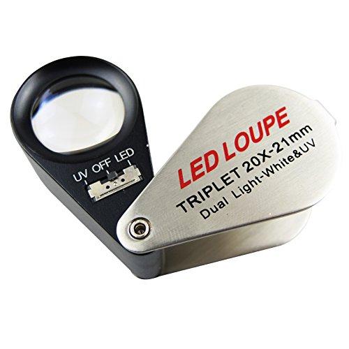 Mini Juwelier Lupe 20x Lupe mit LED-und UV-Licht