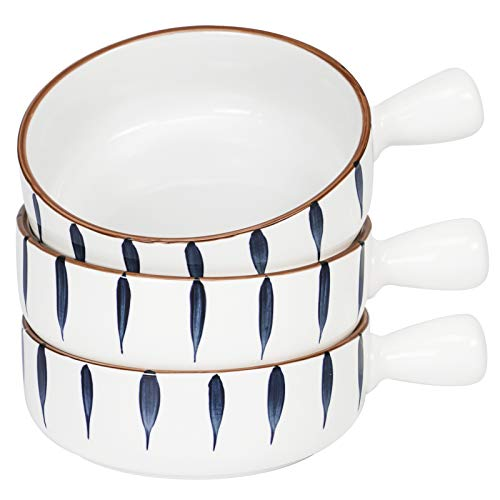 AQUIVER 21 OZ French Onion Soup Bowls - Color Painted Porcelain Serving Bowl with Single Handle for Tortilla Soup, Oatmeal, Cereal, chili, Beef Stew, Chowde - Set of 3 (Blue)