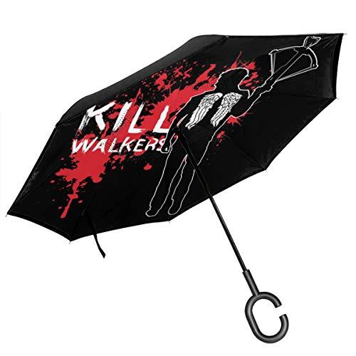 The Walking Dead Daryl Regenschirm mit Armbrust und doppelschichtigem Umkehr, faltbar, über den Boden klappbar, C-förmige Hände, leicht und Winddicht