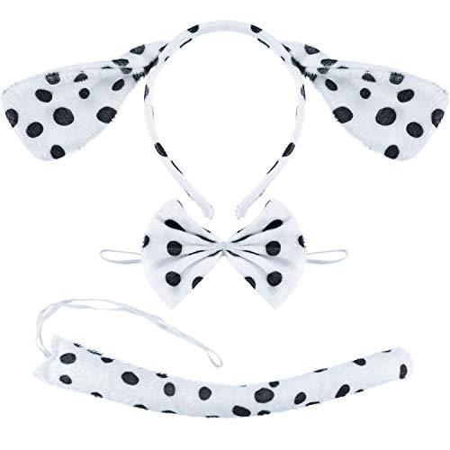 SATINIOR 3 Stück Dalmatiner Kostüm Zubehör, Dalmatiner Ohren Stirnband Dalmatiner Fliege Dalmatiner Schwanz für Halloween Weihnachtsfeier Kostüm Set