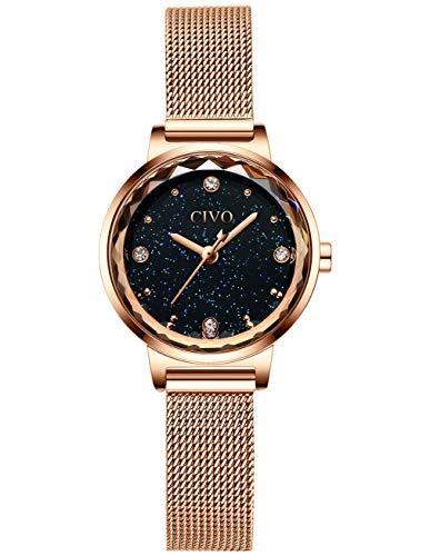 CIVO Relojes para Mujer Reloj Damas de Malla Impermeable Lujo Minimalista Oro Rosa Elegante Banda de Acero Inoxidable Relojes de Pulsera Moda Vestir Negocio Casual Reloj de Cuarzo (Oro Rosa)