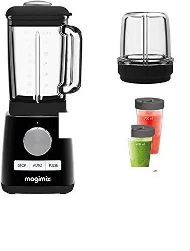 Magimix Power Mixer Blender Schwarz 1300 W 22000 g (mit 2 Zubehörteilen: Minischale + - Blender Cup)