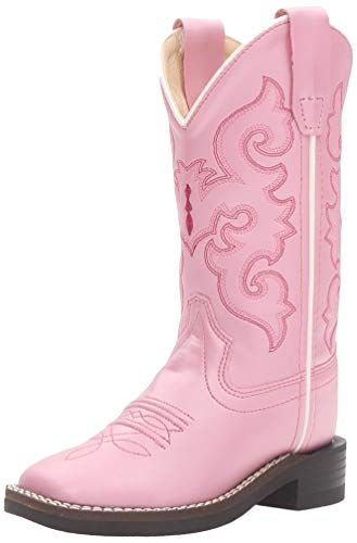 Old West Girls' Western Boot Square Toe - Vb9120 Pink 1