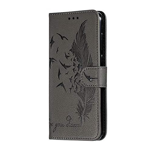 HAOYE Hülle für Huawei Nova 5T Brieftasche Handyhülle, Ziemlich Retro Geprägt Feder Muster Design PU Leder Buch Stil Brieftasche Flip Case Cover, Huawei Nova 5T Schutzhülle, Grau