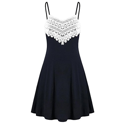 IZHH Damen Sommerkleid, Camisole Kleid mit Häkelspitze V Ausschnitt Spaghetti Buegel Blumen Elegant Vintage Rückenfreies Cocktailkleid Kleider