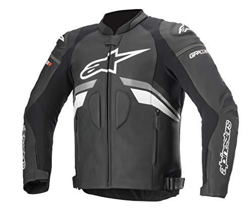 Alpinestars Men's GP Plus R v3 Airflow Leather Motorcycle Jacket, Black/Dark Gray/White, 52