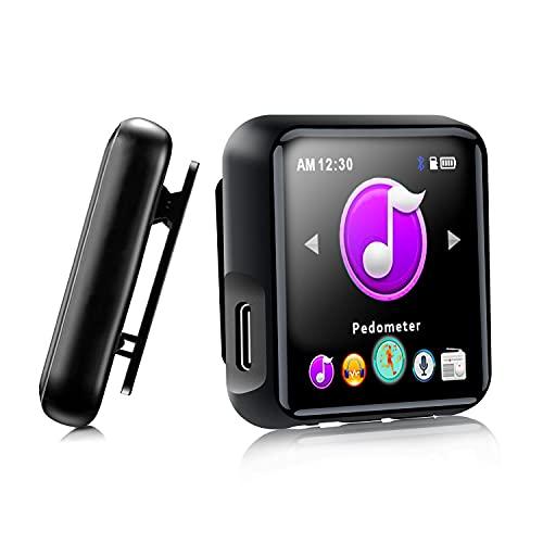 SEWOBYE Reproductor MP3 Player de 16GB, Reproductor mp3 Bluetooth 4.2 de Pantalla Completa Táctil, MP3 Deporte con Clip y Correa de Reloj, Tarjeta de 128GB TF Ampliable (Green)