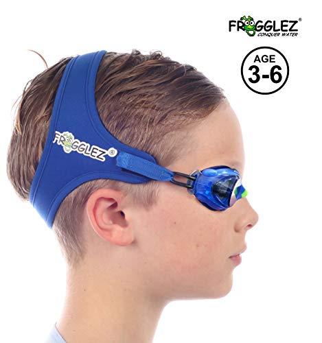 Frogglez Schwimmbrille mit patentierter schmerzfreier Band-Technologie – kein Auslaufen, Anti-Beschlag-Schwimmbrille mit UV-Schutz, blau, Children to age 6(18 - 19 inch head circumference)