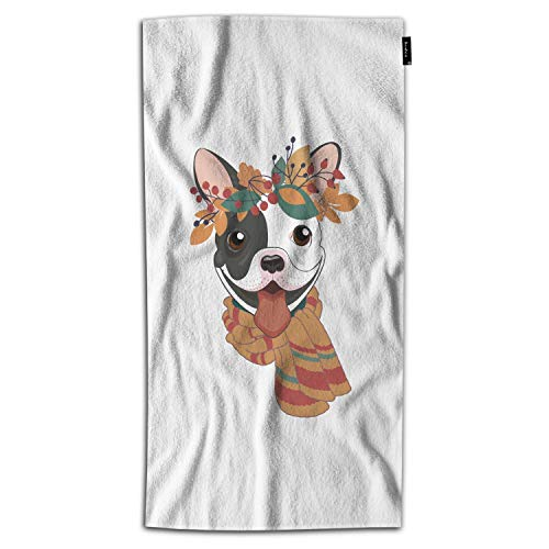 Beabes Black and White French Bulldog Hand Towels Cute Doggy Cartoon Fall Leaves Floral Happy Day Hand Towels Kitchen Hand Towels for Bathroom Soft Polyester-Microfiber 30Lx15W Inch