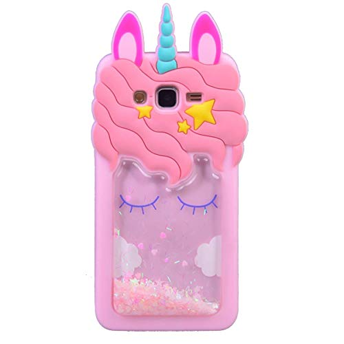 iFunny 3D Cute Cartoon Kawaii Quicksand Unicorn Bling Glitter Kids Girls Soft Silicone Case for Samsung Galaxy Grand Prime G530/J2 Prime/Grand Prime Plus G532 (Quicksand Unicorn)