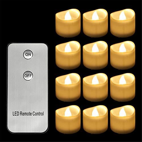 12 velas de té LED con mando a distancia y batería, parpadeantes, sin llama, con luz titilante, como luz de ambiente (blanco cálido)