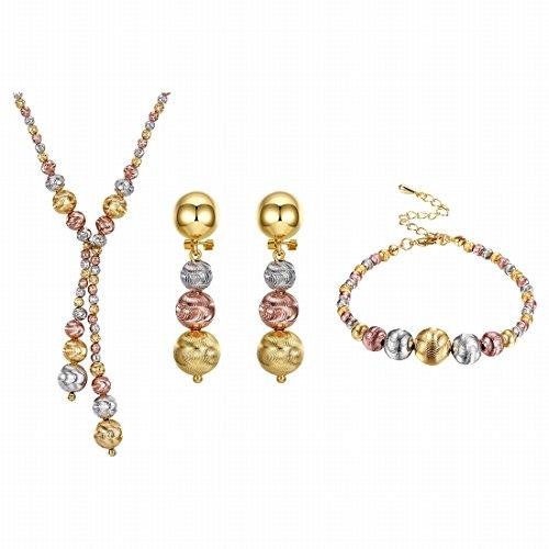 K gouden zirkoon driedelige ronde scrub kralen hanger ketting oorbellen armband dames pak verguld 18K goud