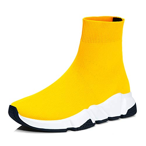 RoseG Herren Damen Mode Sliper Schuhe Unisex Leichte Atmungsaktive Sneakers Outdoor Turnschuhe Gelb Schwarz/Weiß Size43