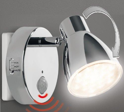 Trango LED Sensor Nachtlicht 2635-018 in Chrom mit Automatikfunktion direkt 230V mit Bewegungssensor I Sicherheitslicht I Steckdose Lampe I Wandlampe I Orientierungslicht I Kinder Nachtlicht