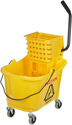 Amazon Basics Side Press Wringer Combo Commercial Mop Bucket on Wheels, 35 Quart, Yellow
