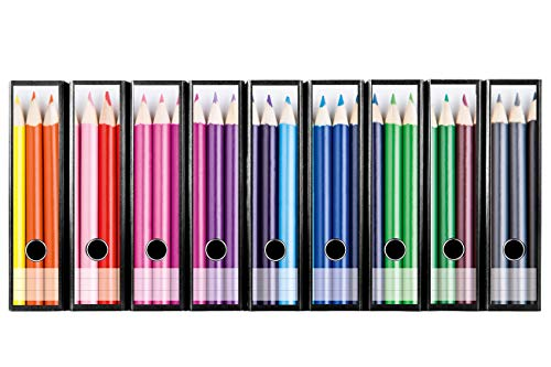 codiarts. 9 Stück breite Ordner-Etiketten - Buntstifte selbstklebend (Ordnerrücken Deko Aufkleber für Aktenordner)