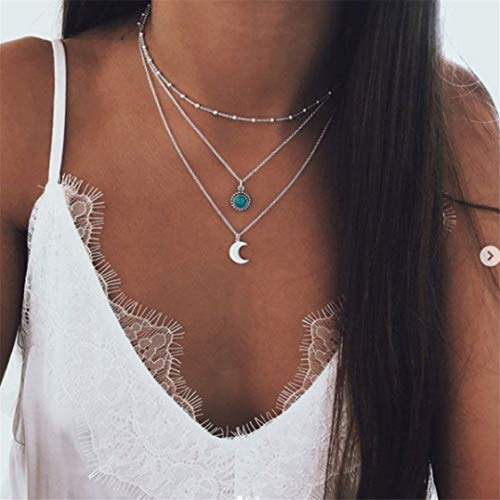 Idiytip Multi-Layer Moon Pendant Necklace Crystal Alloy Chain Necklaces Women Long Chain Choker Necklace