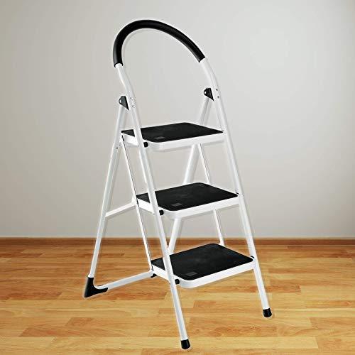 Trittleiter - 3 Stufen, bis 150 kg, klappbar, inkl. Klappsicherung, Sicherheitshaltebügel, rutschfeste Füße - Klapptritt, Haushaltsleiter, Klapptreppe, Klapptrittleiter für Haushalt