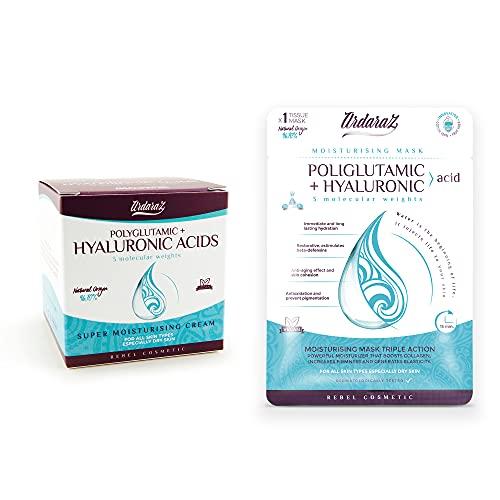 Ardaraz – Crema facial Hidratante y Rejuvenecedora + mascarilla - concentrada en Ácido Hialurónico en 3 pesos Moleculares. Crema de noche y de día 50 ml.