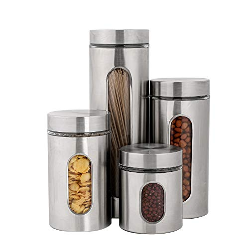 PENGKE 4 Piece Silver Stainless Steel Canister Set with Glass Windows,perfect for Kitchen Canning Cereal,Pasta,Sugar,Beans,Spice.