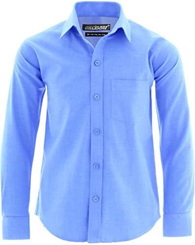 GILLSONZ GA22 vDa Kinder Party Freizeit Oxford Student Hemd Lange Arm 100% Baumwolle (134/140(EU 9-10y), Hell-Blau(14))