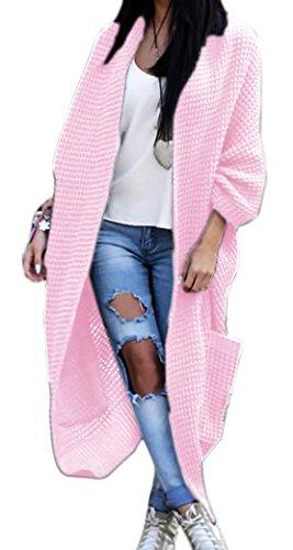 Mikos Damen-Strickjacke-Pullover-Pulli-Jacke-Oversize-Boho-S-M-L-XL (629) Rosa