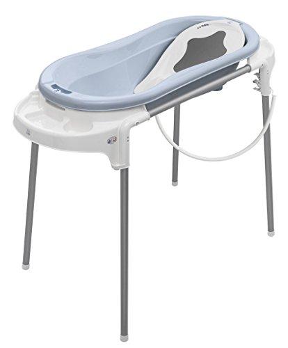 Rotho Babydesign Set de Bain avec Baignoire et Support, Idéal pour 2 Enfants, 0-12 Mois, Bleu/Blanc, TOP Xtra Station de Bain, 21041023801