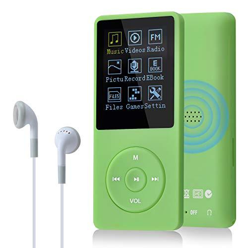 COVVY Reproductor de música delgado 8 GB portátil sin pérdidas 70 horas Pantalla MP3 Reproductor de soporte hasta 64 GB (verde)
