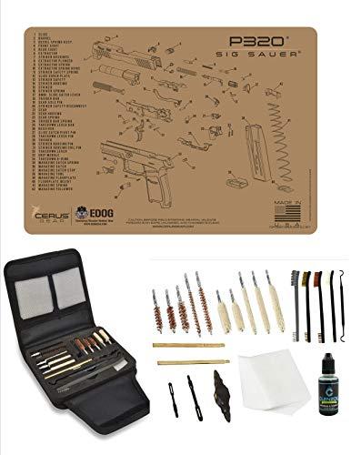 EDOG Gunslinger 20 PC Gun Cleaning Kit  Pistol Mat Compatible with Sig Sauer P320 Tan  Schematic Exploded View Mat Gunslinger Universal 22 38 357 9mm 40 amp 45 Caliber Kit