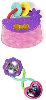 Bright Starts Pretty in Pink Carry Teethe Purse & Bright Starts Rattle and Shake Barbell Rattle, Pretty in Pink
