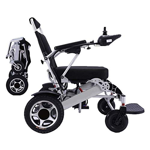 WISGING 2021 Lightweight Fold Foldable Portable Electric Wheelchair Deluxe Powerful Dual Motor Compact Mobility Aid Wheel Chair - Weighs only 26kg with 2 Batteries - Supports 120kg(Silver)