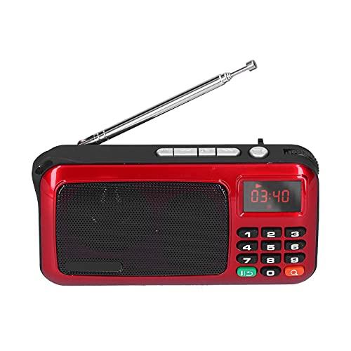 wendeekun Radio de transistores de Bolsillo con Pantalla Digital Grande, Altavoz de Radio portátil, Reproductor de música MP3, Mini Radio con Pantalla LED y Linterna(Rojo)