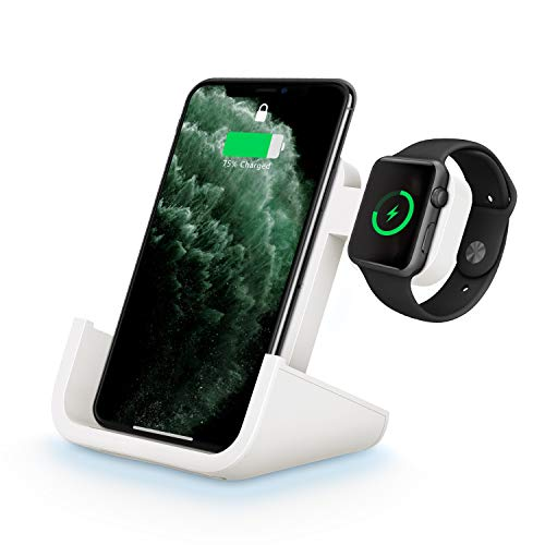 Wireless Charger, Yuwiss 2 in 1 Dual Wireless Charging Dock Station with iWatch Stand for iWatch 5/4/3/2/1, Fast Charger for iPhone 11/11 Pro Max/XR/XS Max/XS/X/8/8P