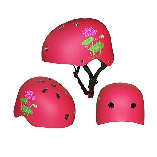 Kinder Fahrradhelm Sport Schutzausrüstung, Motorrad Helm Skateboard BMX Fahrrad Sport-Helm Schutzset zum Draußen Rollschuhlaufen Inline Skates Skateboarding Radfahren 50-60CM (L, Pink)