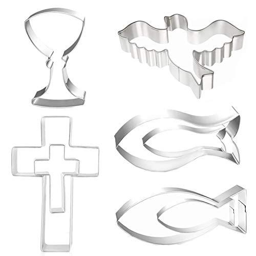 8 Stück Ausstecher Ausstechformen,Christen-Fisch Keksausstecher, Edelstahl Kreuz Ausstecher, für Kommunion Konfirmation Taufe Deko