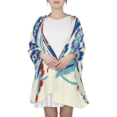 WYYWCY Flores y azulejos marroquíes bufanda de moda única para las mujeres Moda ligera Otoño Invierno Imprimir bufandas Mantón Envuelve regalos para principios de primavera