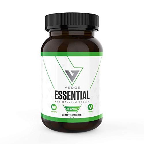 Vegan Daily Multivitamin Contains Vitamin D, Vitamin B12, Algal Oil for Vegan EPA & DHA - Natural Vitamins, Minerals - 30 Day Supply, Vegan Omega 3 - Vedge Nutrition Essential