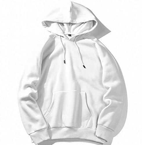 MMADD Hombres suéter, hombres sudadera con capucha suéter exterior prenda multicolor, Blanco, L