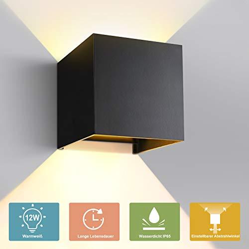GHB Wandleuchte Wandlampe 12W LED Wandbeleuchtung mit einstellbar Abstrahlwinkel Up Down Design IP65 Wasserdichte 2700K Warmweiß (Schwarz) [Energieklasse A+]