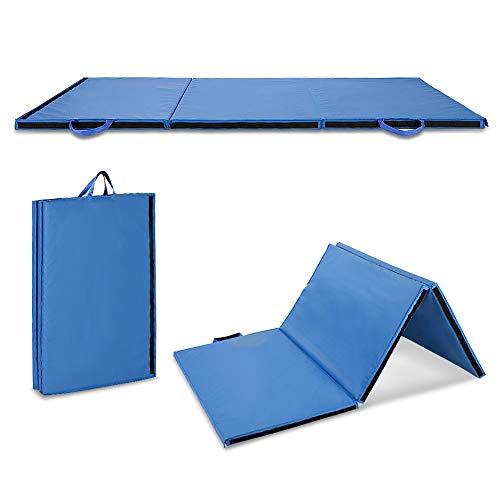 Blau Gymnastikmatte Klappbare Weichbodenmatte Rutschfeste Sportmatte Turnmatte mit 2 Tragegriffe für Yoga Workout Fitnessstudio, 91 x 61 x 13 cm