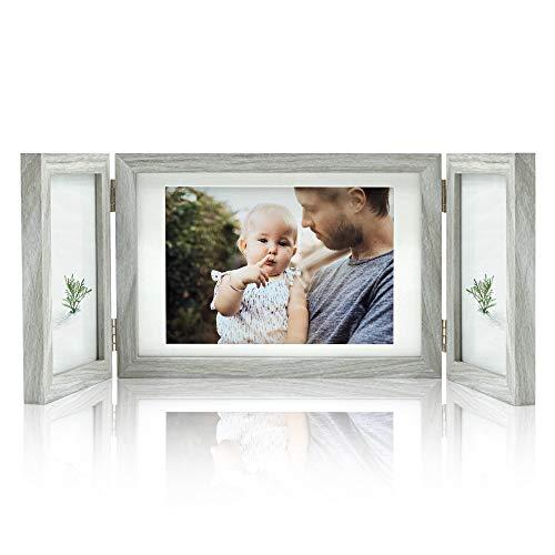 Afuly Bilderrahmen Collage 3 Bilder für 10x15 cm und 13x18 cm Fotos Holz Grau Rustikal Mehrfach Fotorahmen Family Geschenk