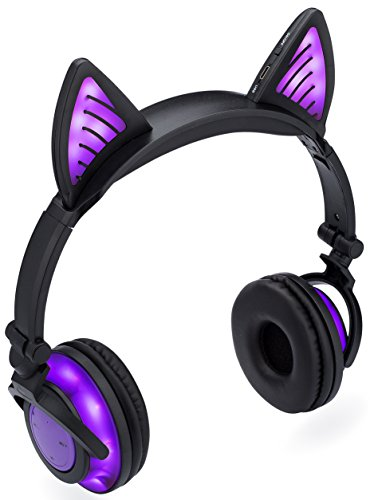 SoundBeast Bluetooth Cat Ear Headphones with Glowing Purple Lights - Wireless Headphones for Kids & Adults