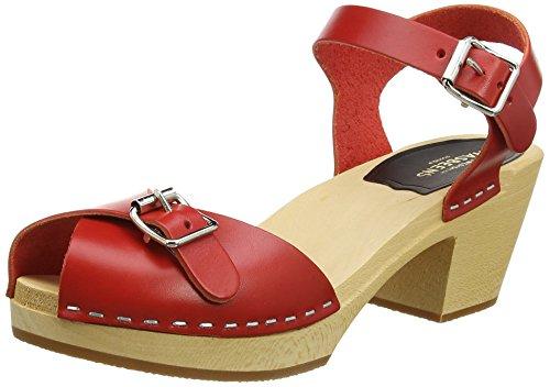 swedish hasbeens Women's Pia High Heeled Sandal, Red, 10 M US