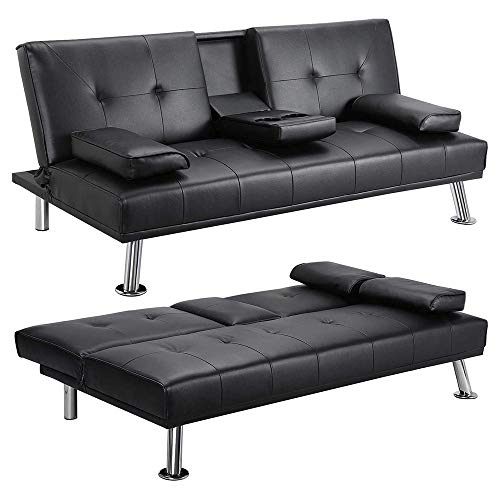 LinkRomat Modern Faux Leather Convertible Folding Futon Sofa Bed Recliner Couch w/Metal Legs, 2 Cup Holders, Armrest for Living Room, Home Furniture, Black
