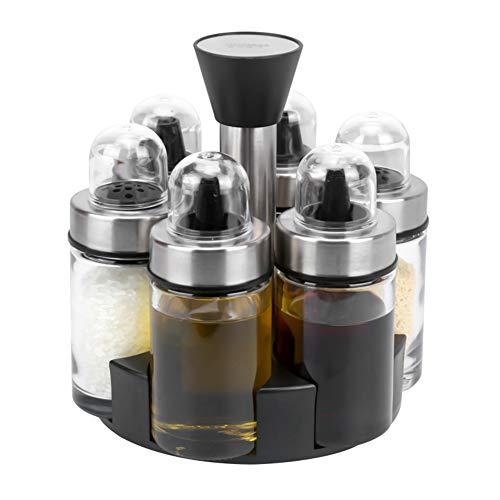 Freehawk - Set di 3 vasetti per condimenti e spezie, con cucchiai, vasetto per miele con gocciolatori, bottiglia di olio con pennello e coperchio per olio, zucchero, spezie, condimenti Set da 6 pezzi.