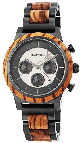 Raptor Herren-Holzuhr Chronograph Edelstahl Datum Anzeige Analog Quarz RA20231 (Zebraholz)