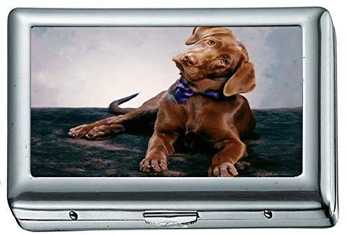 Tier Hund 207710 Zigarettenetui / -schachtel Visitenkartenetui Edelstahlgehäuse Silber Metall Geldbörse Schutz