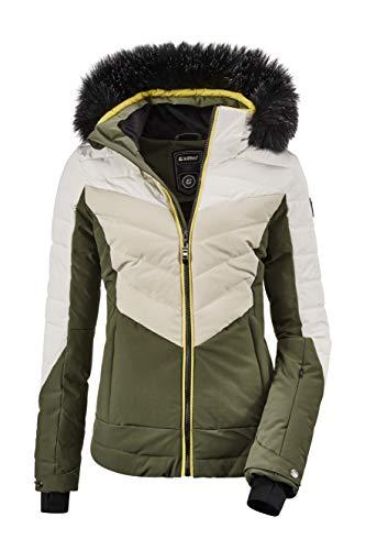 Killtec Damen Atka WMN Quilted Ski Jckt A Jacke In Daunenoptik Mit Abzippbarer Kapuze Und Schneefang, Oliv, 40